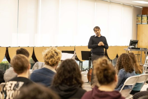 Polyphony Co-Founder, Nabeel Abboud Ashkar in a Q-and-A with students at Kehillah Jewish High School,  on Thursday, November 15. Photo by Karla Chouhan.
