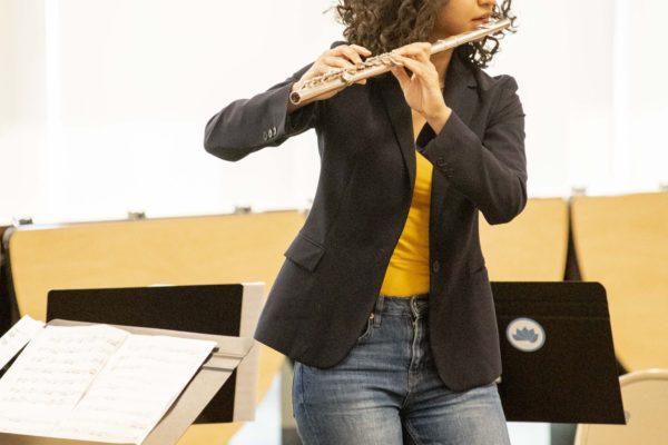 "Flutish Mais Hriesh performing Ian Clark's ""Zoom Tube"" at Kehillah Jewish High School,  on Thursday, November 15. Photo by Karla Chouhan."